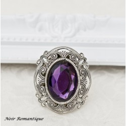 Anillo victorian gothic purple gem