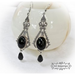 Pendientes gothic victorian silver and onyx