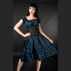 Vestido blue brocade gothabilly