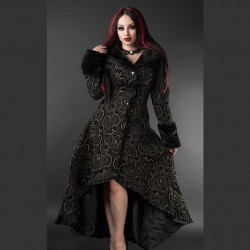 Abrigo black gold jacquard evil princess