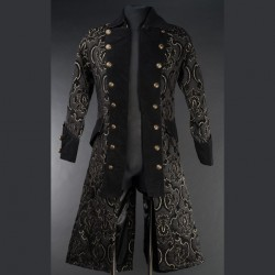 Abrigo brocade black jacquard long pirate