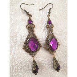 Pendientes victorian bronze and fuchsia