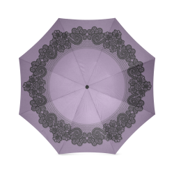 Paraguas plegable victorian battenburg lace flowers purple