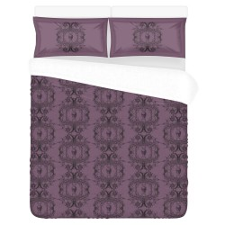 Conjunto cama deadly purple baroque skull damask