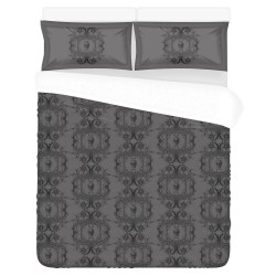 Conjunto cama medium gray baroque skull damask