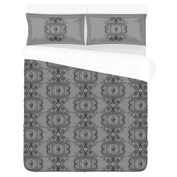 Conjunto cama light gray baroque skull damask
