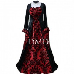 Vestido medieval red brocade