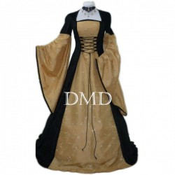 Vestido medieval black and gold