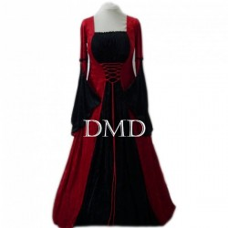 Vestido medieval red black