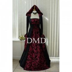 Vestido goth medieval pagan hooded black & wine