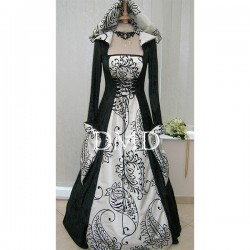 Vestido medieval hooded wedding black & cream