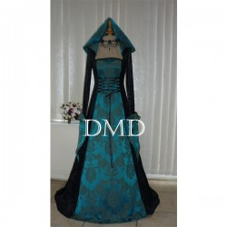 Vestido gothic renaissance hooded black & teal