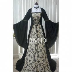 Vestido Renaissance medieval gothic black and gold tapestry