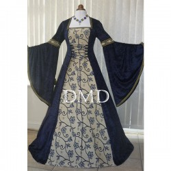 Vestido renaissance medieval wedding navy blue tapestry